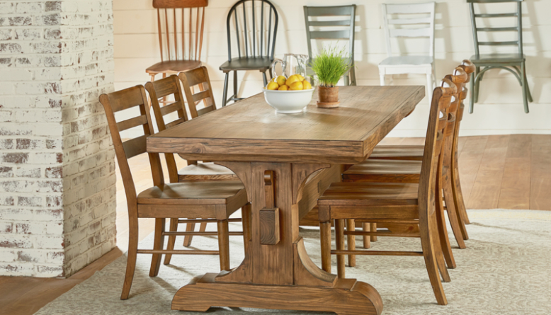 Farmhouse Keyed Trestle Dining Table Setting