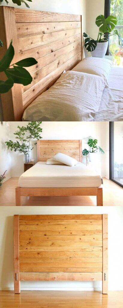 Bed Frame with Plank Headboard