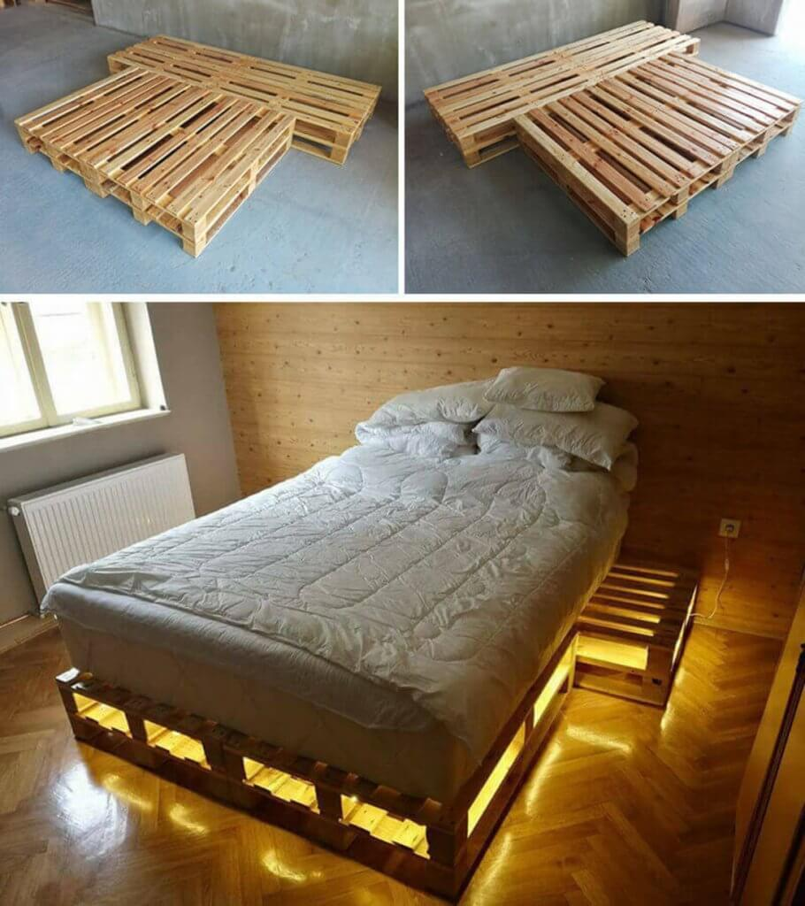 Cool Pallet Bed Frame with Lights