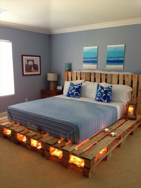 Pallet Bed Frame with Lights