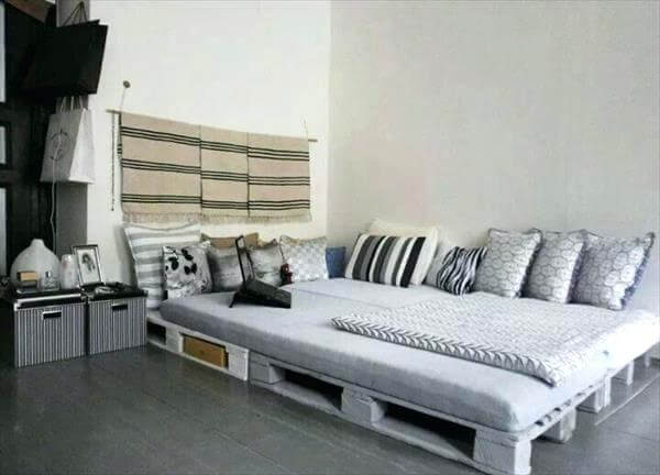 Gray Pallet Bed Frame