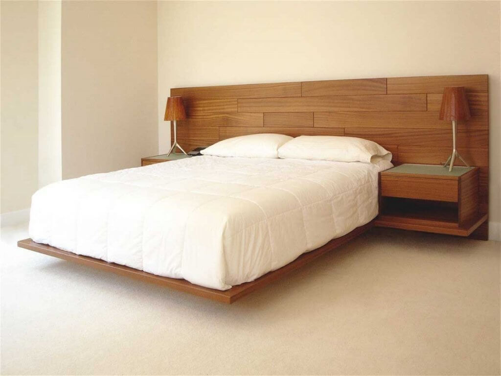 Floating Bed Frame with Multifunctional Headboard