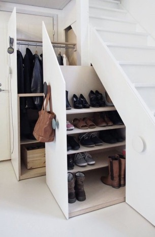 Hidden Shoe Storage Behind Stairs