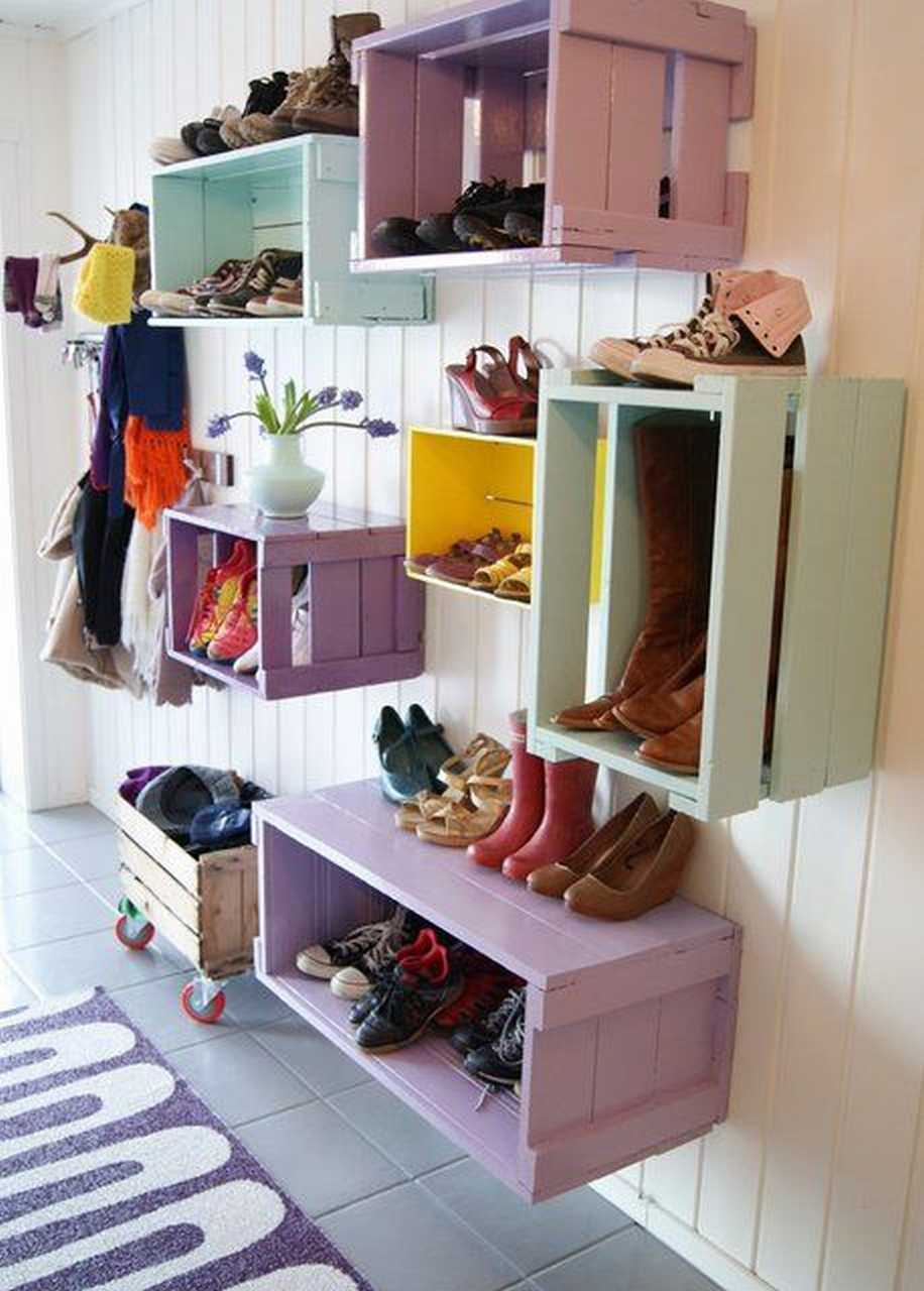 DIY Wall Shoe Storage