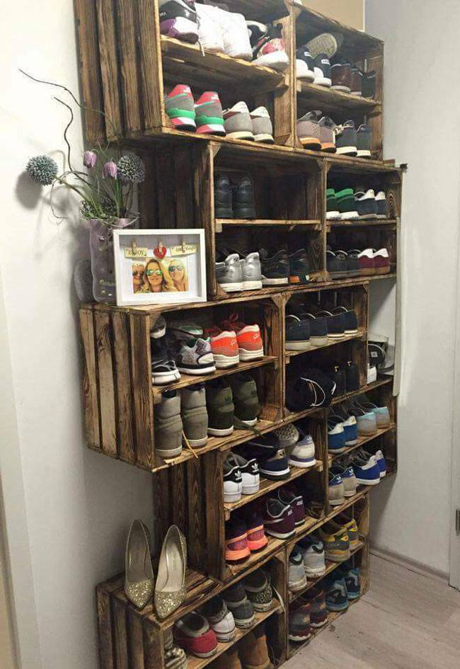 Shoe Wooden Boxes on the Wall