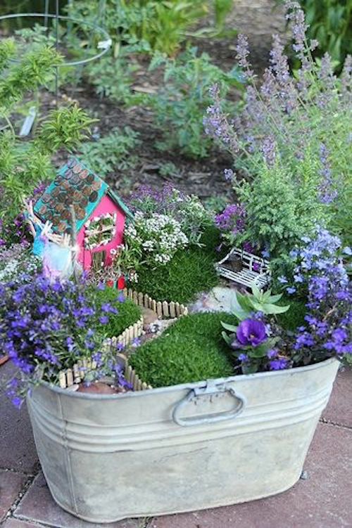 Fairy Garden on Old Bucket