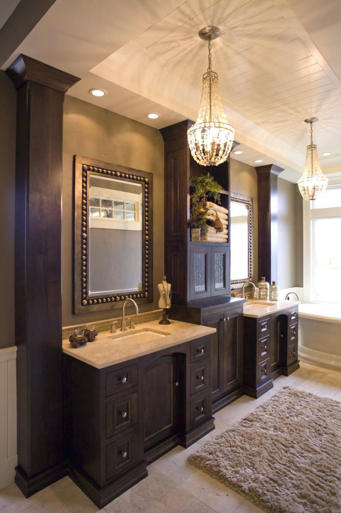 Classy Wooden Built-In Bathroom Vanity