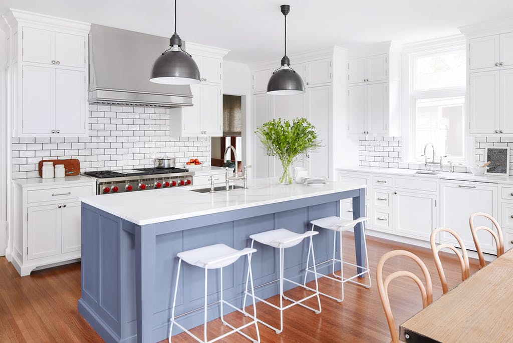 Blue Kitchen Island for White KItchen