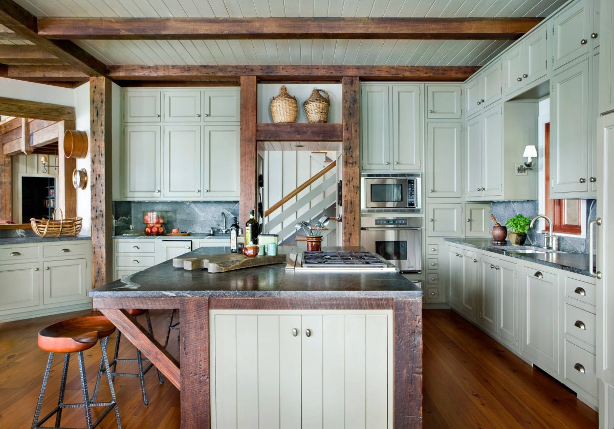 Rustic Kitchen Island with Breakfast Bar
