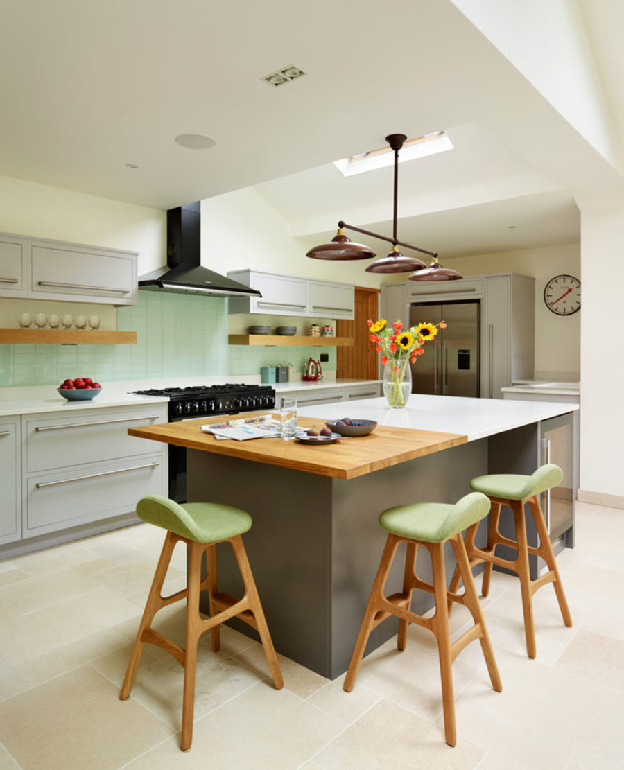 Gray Kitchen Island with Double Countertops