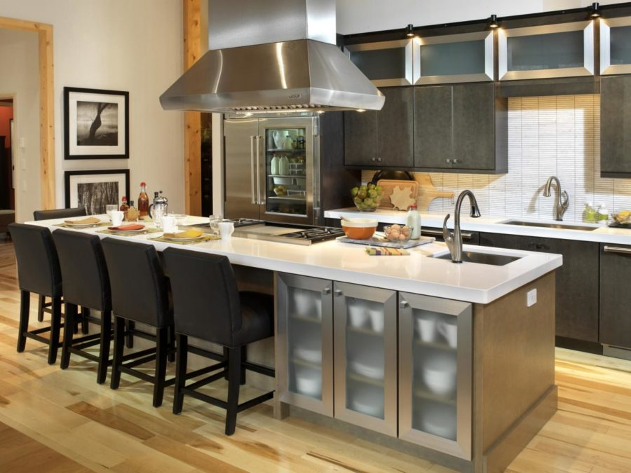 Silver Kitchen Island