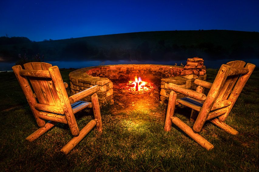 Outdoor Fire Pit in the Garden
