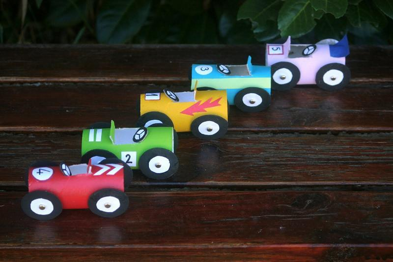 Race Cars from Toilet Rolls