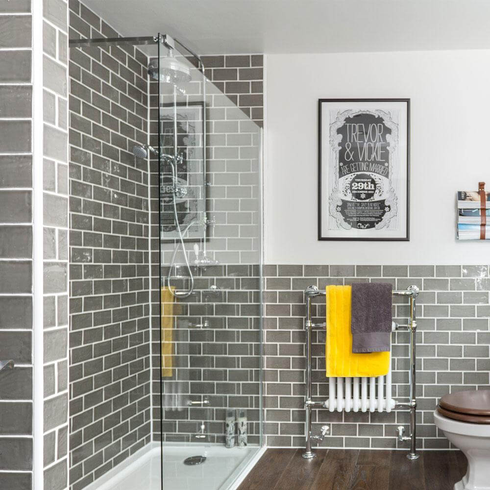 Gray Tiles for White and Gray Bathroom