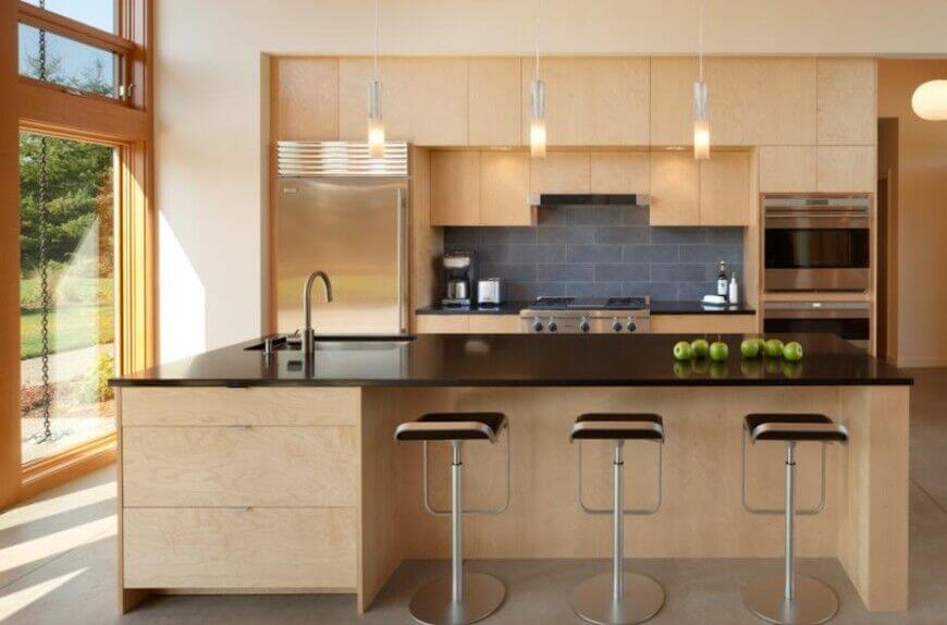 Wooden cabinets and kitchen island