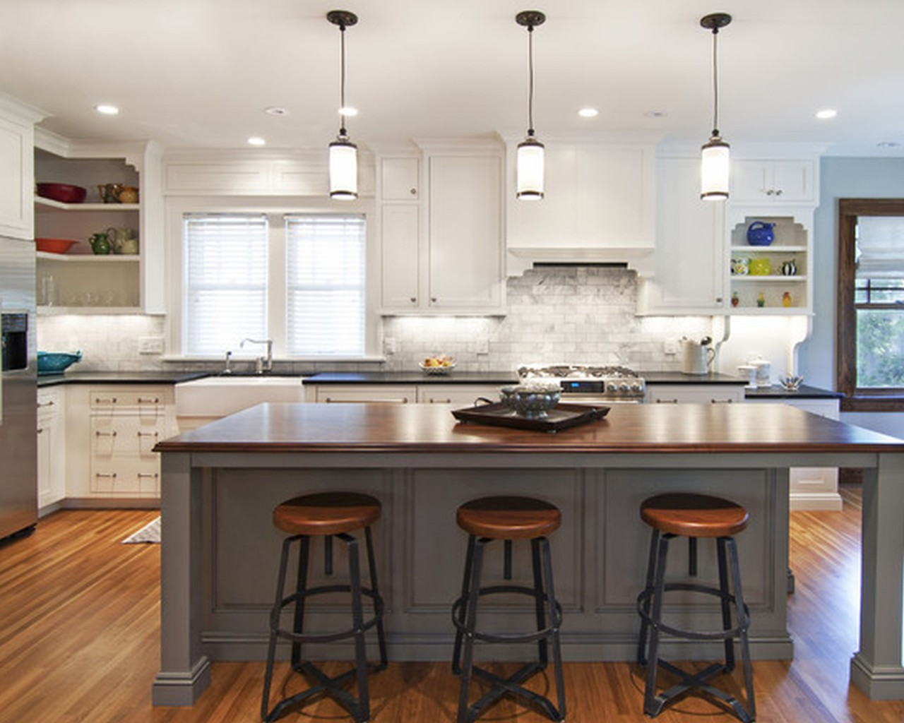 Gray Kitchen Island with Wooden Countertop