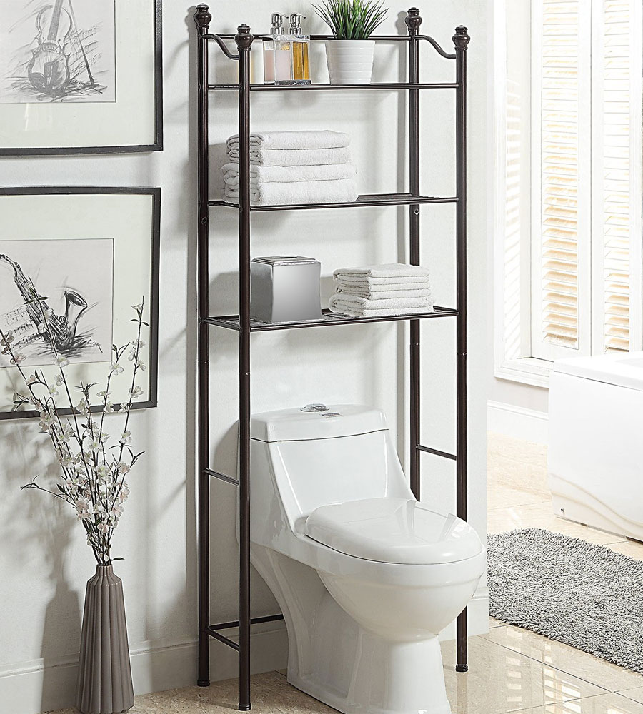 Simple Shelf for Black and White Bathroom