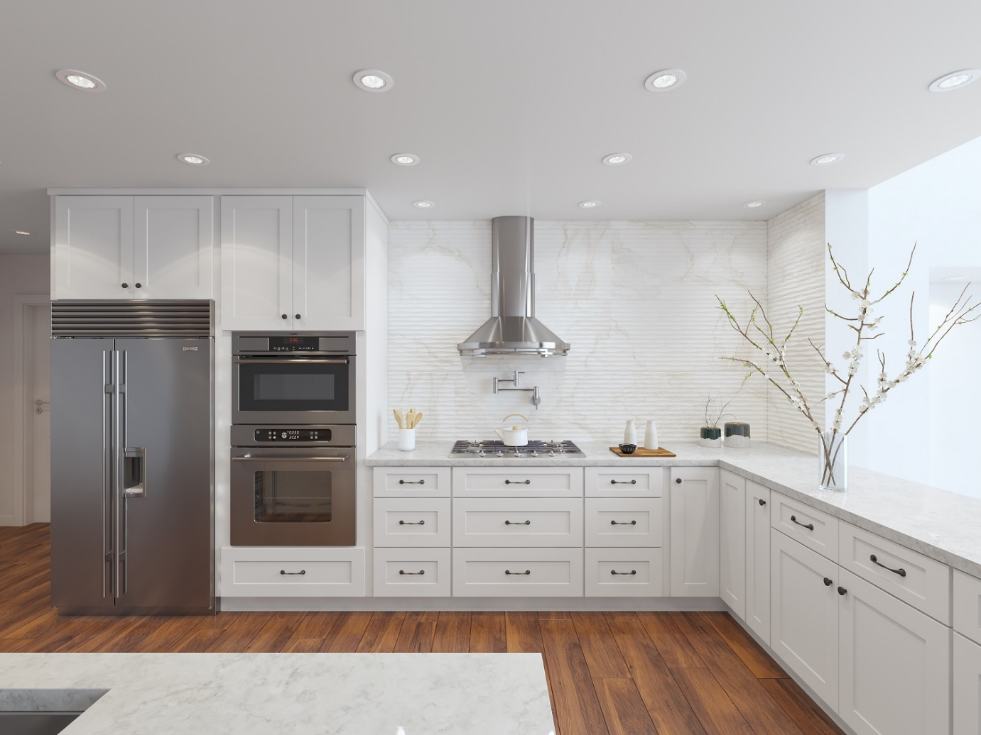 White Shaker Cabinets with Gray Appliances