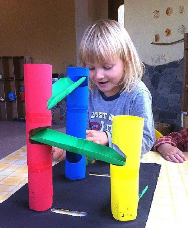 Marble Runs from Toilet Rolls