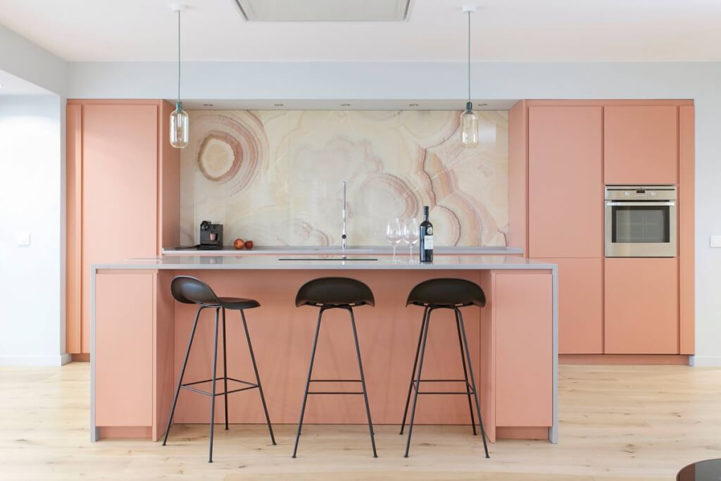 Coral Pink Cabinets