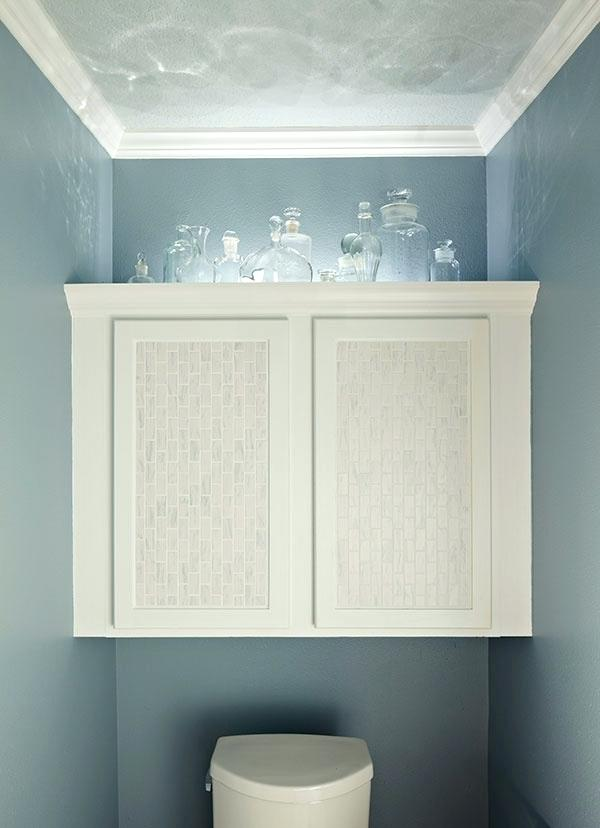 White Storage for Bathroom with Mermaid Palette